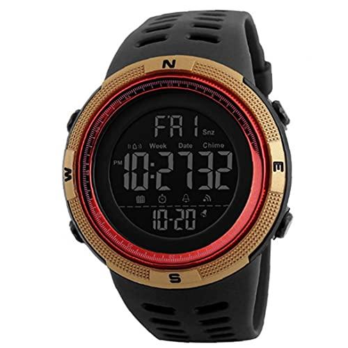 Los estudiantes miran el reloj militar electrónico digital con brazalete de cuero fácil leído lectura impermeable reloj de pulsera clásico cronómetro de oro accesorios de electrónica de oro