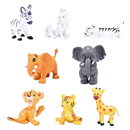 8 Pcs Cartoon Wild Animal Models Toy, Zoo Animal Figures Collection Playset Cake Toppers for Prizes, Stocking Stuffers, Animal Parties