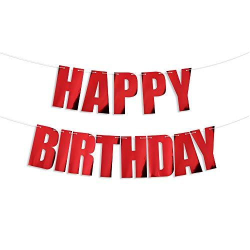 Guirnalda Feliz Cumpleaños Banner Decoracion Fiesta de Cumpleaños Banderines Happy Birthday Rojo