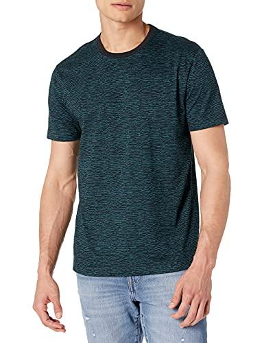 Goodthreads Men's Slim-Fit Short-Sleeve Crewneck Cotton T-Shirt, Blue Wave Stripe, Large