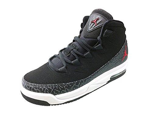 Jordan Kids AIR Deluxe BG Black Dark Grey White Gym RED Size 5