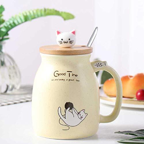 xiaojiangqi Creativo Coperchio in Legno Gatto Latte Tazza Simpatico Cartone Animato Tazza Di Ceramica Colazione Tazza Da Bere 401-500ml / Giallo