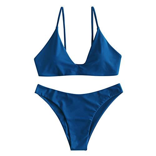 ZAFUL - Costume da bagno da donna con reggiseno imbottito a taglio alto, con due pezzi Blu L