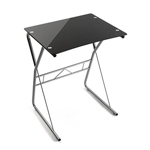 Versa 10330081 Mesa de Ordenador o Escritorio Leipzig, Cristal, Negro, 75 x 47,5 x 60 cm
