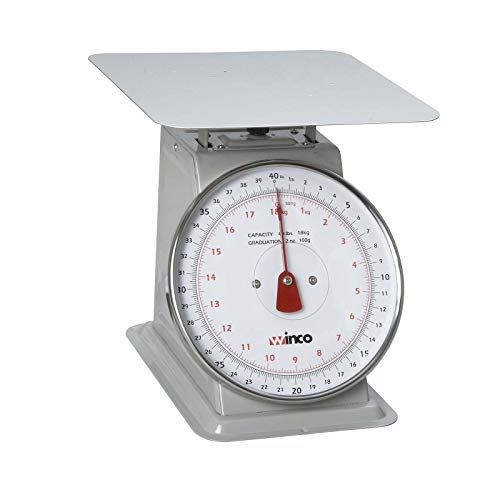 Winco 40-Pound/18.18kg Scale with 8-Inch Dial, Medium, White, Steel