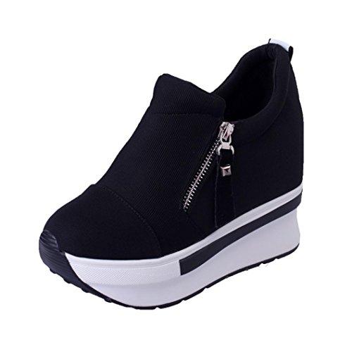 Zapatos Mujer Plataforma, de Moda de Mujer Botas de cuña para Mujer Zapatos de Plataforma Botas de Tobillo con Cordones Calzado Zapatillas Mujer (Negro, 39)