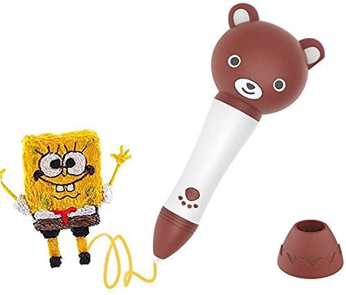 Pluma de impresión 3D, juguete creativo, lápiz de dibujo 3D con forma de oso inteligente de la impresión 3D con función de voz y control de velocidad para artes y manualidades DIY Dibujo Juguetes para