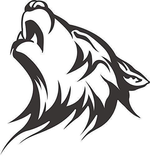 EW Designs Black and White Howling Wolf Husky Vinyl Decal Bumper Sticker (4' Tall)