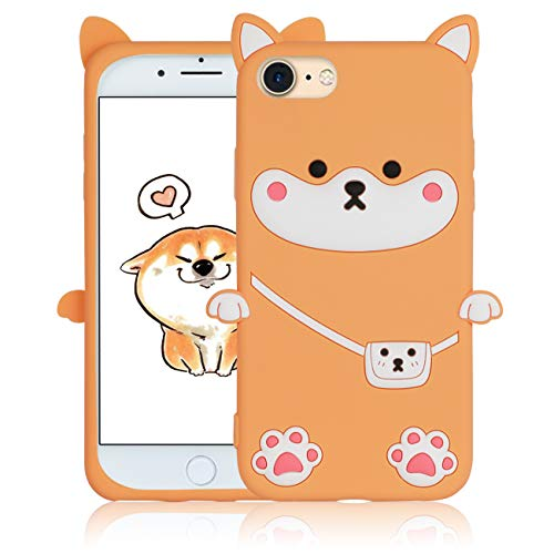 Lupct Shiba Inu Dog Case for iPhone 7/8/6S/6/SE 2020 4.7' 3D Cartoon Animal Unique Design Cute Silicone Cover Kawaii Fun Fashion Cool Funny Cases for Kids Teens Girls (iPhone 7/8/6S/6/SE 2020 4.7')