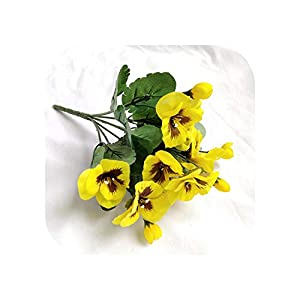 Joyfeel-light Artificial Flowers 10 Inch Artificial Pansy Flowers Silk Fake Butterfly Orchid Flower Home Office Wedding Decoration-Yellow-