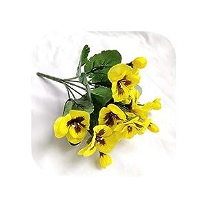 Silk Flower Arrangements Joyfeel-light Artificial Flowers 10 Inch Artificial Pansy Flowers Silk Fake Butterfly Orchid Flower Home Office Wedding Decoration-Yellow-