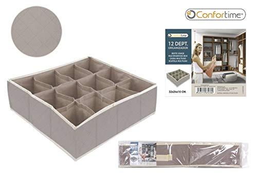 CONFORTIME Recinto 12Compartimentos, 32x 24x 10cm Organizador cajón bajo Vetements Almacenamiento Calcetines Dressing