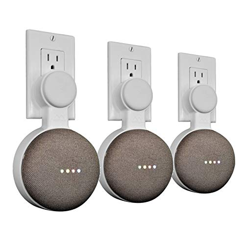 Mount Genie Affordable Essentials Google Home Mini (1st Gen) Outlet Wall Mount Hanger Stand | A Low-Cost Space-Saving Solution (White, 3-Pack)