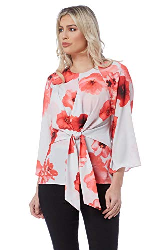 Roman Originals Vrouwen Poppy Top Vetersluiting Top - Dames Korte mouw Kimono Tops Blouses voor De Office Night Out Avond en Overdag