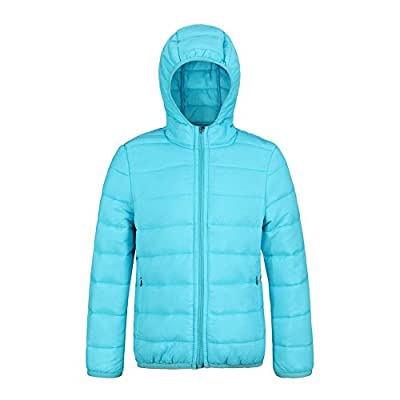 SNOW DREAMS Boys Girls Winter Coats Lightweight Jacket Packable Hooded Puffer Quilted for 2-8 Years(Light Blue,Size 7)