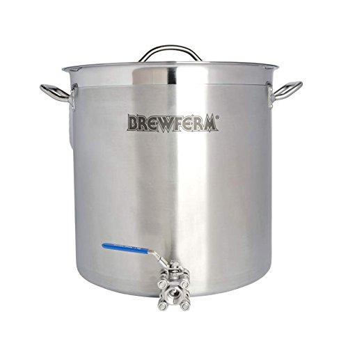 Brewferm® Braukessel 35L mit Kugelhahn - Edelstahl, geeignet für alle Herdarten, ergonomische Griffe, verstärkter Schüttrand, Bier brauen
