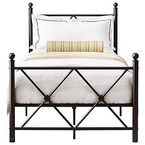 Joycelzen 3ft Marco de cama individual, Sólido Prima Estructura de cama de metal con Soporte de listones de metal,Cabecera y Campo de pie por Niño,Juventud,Adulto,90 x 200 cm