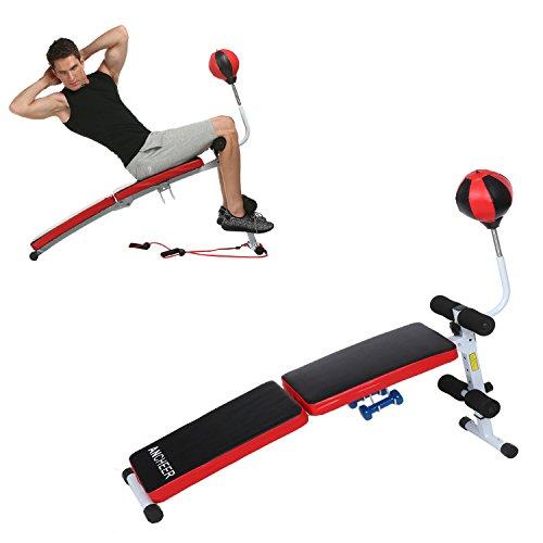 Ancheer Panca da allenamento Altezza Pieghevole Regolabile in Panchina Sit-up Panca AB Trainers Macchine per Addominali con Punzonatura Palla di Velocità