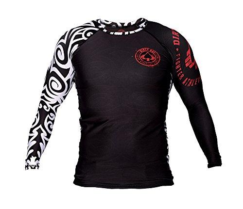 Dirty Ray MMA Tribal NZ All Black t-Shirt Manche Longue Rashguard Homme RG1LS (L)