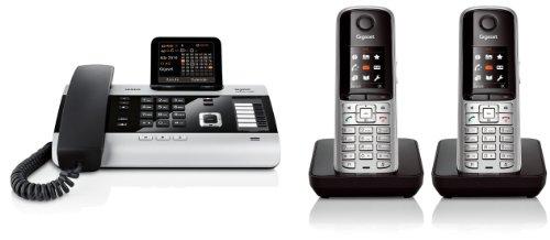 Siemens Gigaset DX600A DUO SET mit 2x S810H Mobilteil – ISDN, Anrufbeantworter, Bluetooth® ECO DECT, schwarz