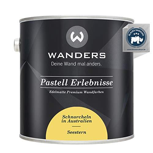 Wanders24® Pastell Erlebnisse (2,5 Liter, Seestern) edelmatte Wandfarbe - Feine Farben - in 40 Farbtönen - Wandfarbe Grau - Made in Germany