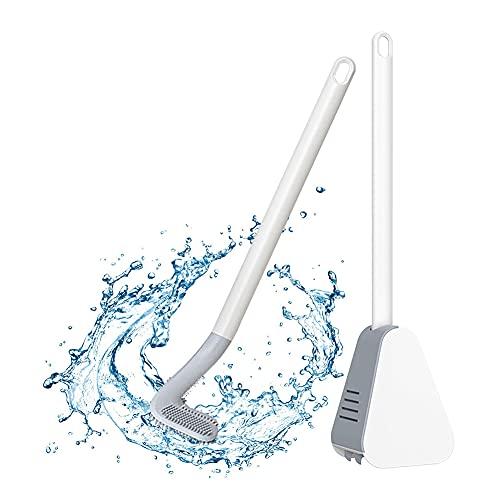 Silikon-Toilettenbürste mit Caddy, 360-Grad-Reinigung, Golfschläger-Design, saubere WC-Eckbürste, wandmontiert, flexible WC-Scheuerbürste mit langem Griff für das Bad, Tiefenreinigung