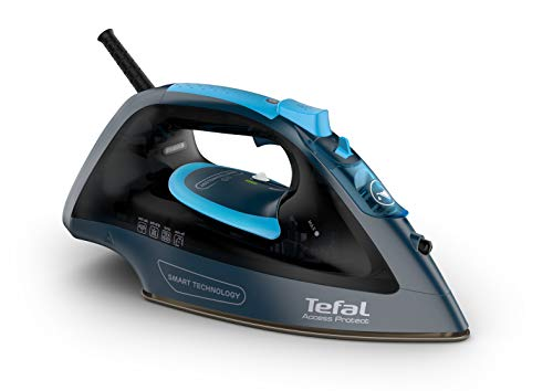 Tefal Access Protect FV1611 Dampfbügeleisen, 2.100 W, intelligente Technologie, keine Konfiguration notwendig, Dauerdampf 25 g/min mit Keramiksohle, Eco-Modus und leicht, Schwarz und Blau