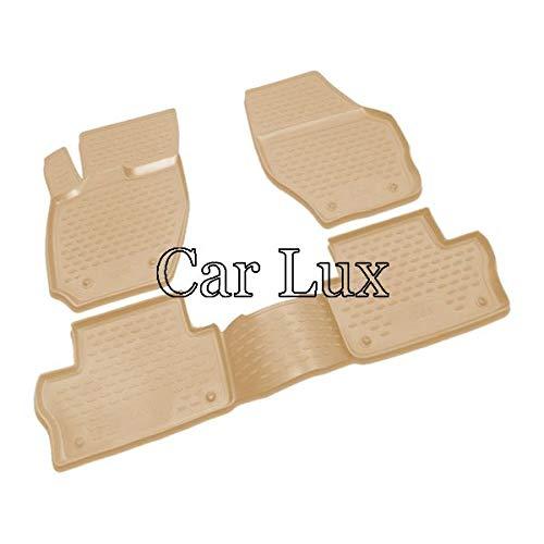 Car Lux AR05029 - Alfombrillas Alfombras de goma a medida con borde alto tipo cubeta 3D en color beige para XC60
