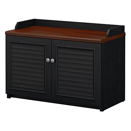 Bush Furniture Fairview Shoe Storage Bench in Antique Black and Hansen Cherry