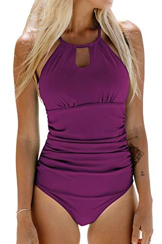 CUPSHE Bañador para Mujer Reductora Barriga Cutout Cuello Alto Traje de Baño, M