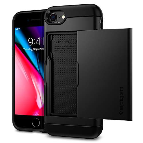 【Spigen】 iPhone SE ケース [第2世代] / iPhone 8 / iPhone 7 対応 カード 収納 新型 MIL規格取得 耐衝撃 指紋防止 傷防止 衝撃 吸収 ワイヤレス充電 SE2 アイフォンSE (2020年モデル) アイフォン8 アイフォン7 カバー シュピゲン スリム・アーマー CS 042CS20455 (ブラック)