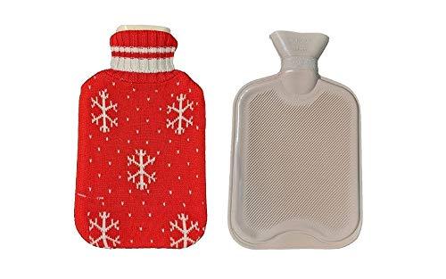 Bolsa de agua caliente bebe, Fontee bolsa para agua caliente capacidad Mini 0.5L para niños, cubierta de diseño de copo de nieve de punto suave (rojo)