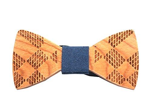 Wookki 100% Handmade Cravate Nœud Papillon Bow Tie Homme En Bois Cherry Sculpté Carré Taille Ajustable Pour Travail Fête Cérémonie Mariage Party Desig