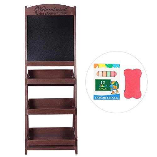 Ausla 3 Tier Plant Display Stand met Blackboard, 3 Tier Folding Ladder Flower Book Storage Home Display Shelf+Blackboard Slaapkamer/Badkamer, 42 x 43 x 114cm