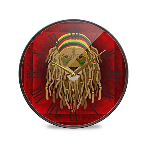 León De Cristal Rojo Arte Reloj de Pared Silencioso Decorativo Relojs para Niños Niñas Cocina Hogar Oficina Escuela Decoración