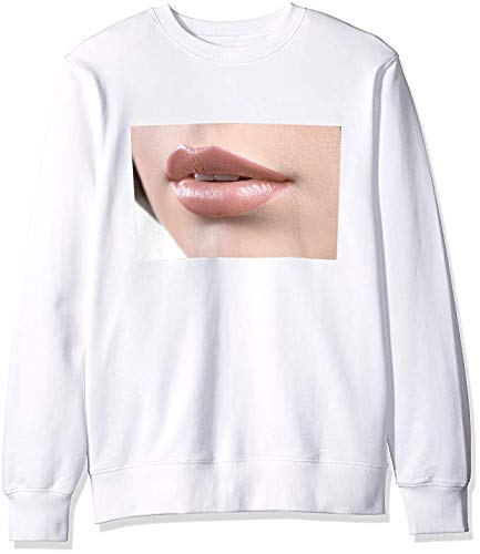 Men's White Sweatshirt with Close Up Shot of The Lips of A Woman Wearing Lipstick Or Lip Glo