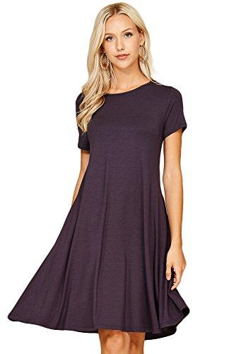 Annabelle Women's Comfy Short Sleeve Scoop Neck Pocket Swing Short Dresses Plus Size 2X-Large Slate D5213X