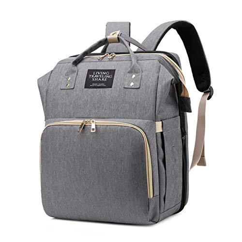 Bolsa para momia plegable con parasol USB, portátil, multifunción, gran capacidad, para mamá y bebé, mochila de viaje