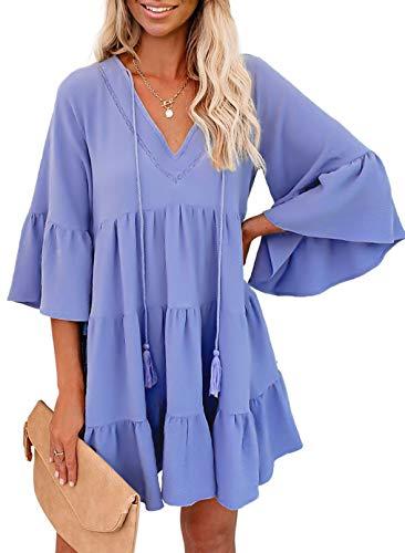 GOSOPIN Women Tunic Dress V Neck Ruffle Swing Shift Dresses Large Solid Sky Blue