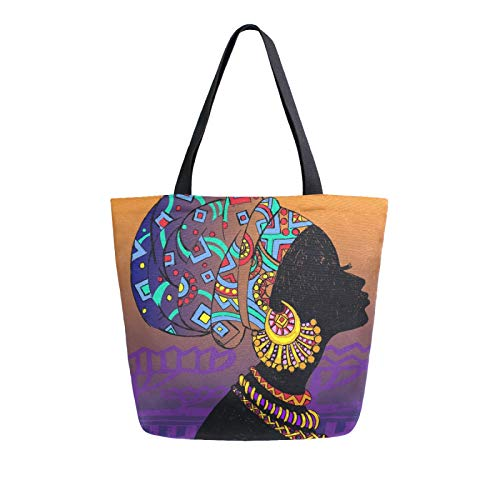 iRoad Women Canvas Bags Retro African Woman Shopping Purse Handbag Reusable Grocery Bags Large Canvas Bag Tote for Travel School Work