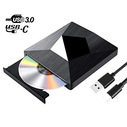 HHDM DVD-Laufwerksbrenner, d-Laufwerk Ultra Slim USB 3.0 und Typ-C-Blu-Ray-BD-CD-DVD-Brenner Player Writer Reader Disk für Betriebssystem, XP / 7/8/10, Laptop-PC