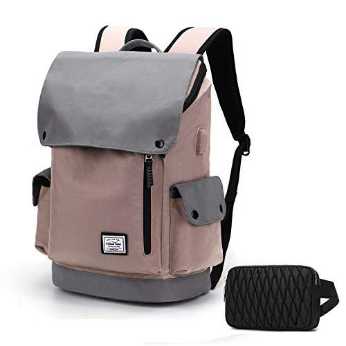 WindTook USB Anschluss Laptop Rucksack Damen Herren Daypack Schulrucksack für 15,6 Zoll Notebook, Wasserabweisend, 20L, 30 x 17 x 45cm, Rosa und Grau mit Bauchtasche Schwarz, Geschenk