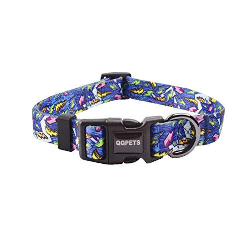 QQPETS Dog Collar Personalized Soft Comfortable Adjustable Collars for Small Medium Large Dogs Outdoor Training Walking Running (M, Blue)