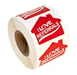 House Shaped I Love Referrals Sticker - Great Real Estate Agents and Sales Supplies (House Shape, I Love Referrals)