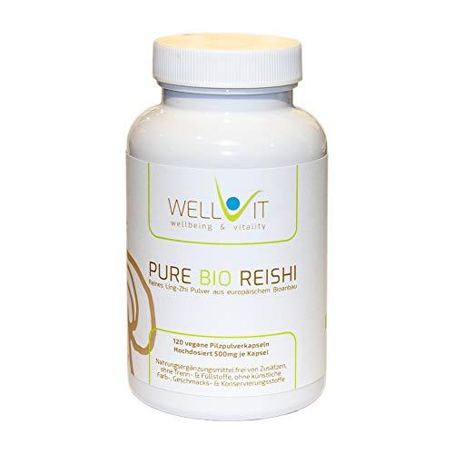 Pure Bio Reishi 120 capsule per 500 mg di Ling-Zhi, da agricoltura biologica dell'UE, vegan, senza additivi artificiali