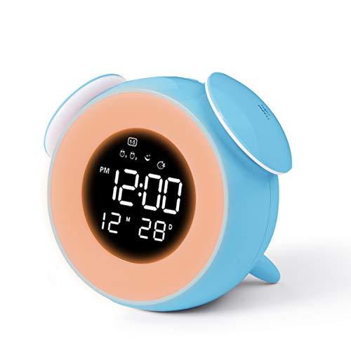 CHEREEKI Despertador Infantil, Reloj Despertador para Niños con 4 LED de Brillo 7 Colores Dual Alarma 25 Musica, Despertador Niña con Control táctil (Azul)