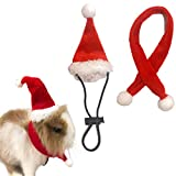 SEIS Small Animal Santa Hat with Scarf Christmas Guinea Pig Costume Halloween Rat Cap Rabbit Clothing Set Xmas Gift Clothes Outfit for Sugar Glider Hamster Chinchilla Ferret Lizard (Christmas)