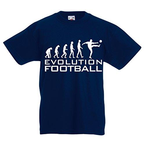 lepni.me Camiseta para Niño/Niña La evolución del fútbol - Camiseta de fanático del Equipo de fútbol de la Copa Mundial (12-13 Years Azul Oscuro Blanco)