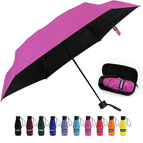Small Mini Umbrella with Case Light Compact Design Perfect for Travel Lightweight Portable Parasol Outdoor Sun&Rain Umbrellas