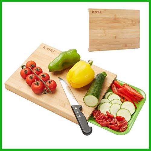 KAHU Premium Organic Bambus Schneidebrett mit Auffangschale – ideales Maß 33x25cm – antibakteriell – hart und widerstandsfähiges Küchenbrett – hitzebeständig und rutschfest – langlebig